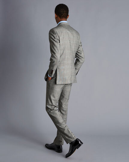 British Luxury Prince of Wales Check Suit - Grey