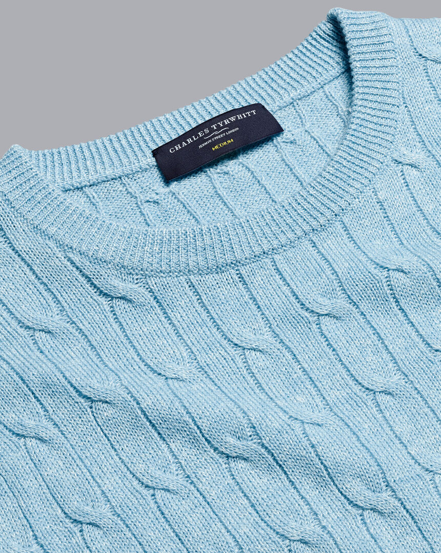 Merino Linen Cable Knit Crew Neck Sweater - Sky