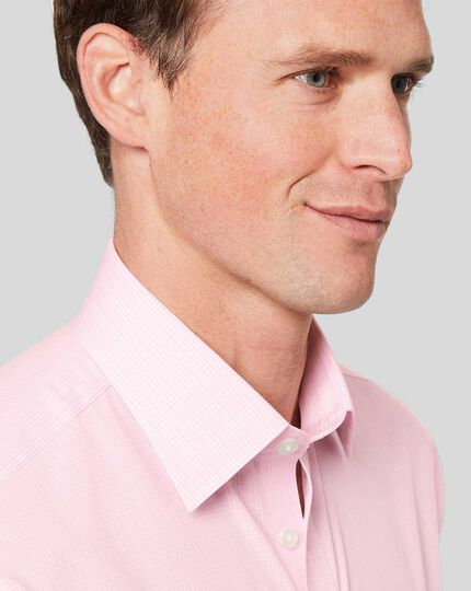 Non-Iron Prince of Wales Check Shirt - Pink