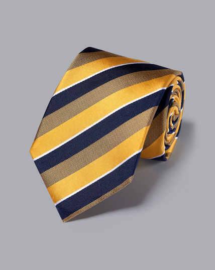 Silk Satin Stripe Tie - Gold
