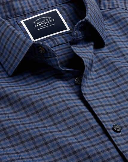 Flanellhemd mit Ton-in-Ton-Karos - Blau