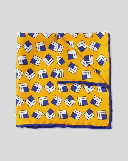 Retro Square Print Pocket Square - Gold & Navy