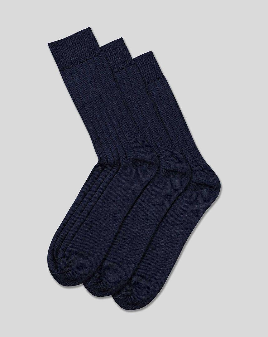 3er-Pack Socken mit hohem Wollanteil - Jeansblau