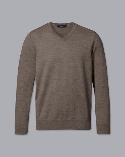 Merino V-Neck Sweater - Mocha
