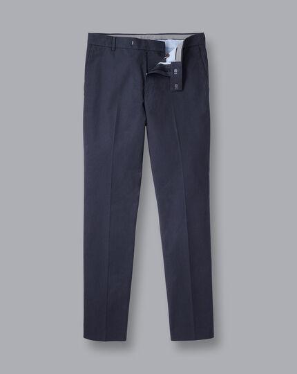 Non-Iron Basketweave Stretch Pants - Navy