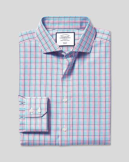 Spread Collar Non-Iron Tyrwhitt Cool Poplin Check Shirt - Blue & Pink