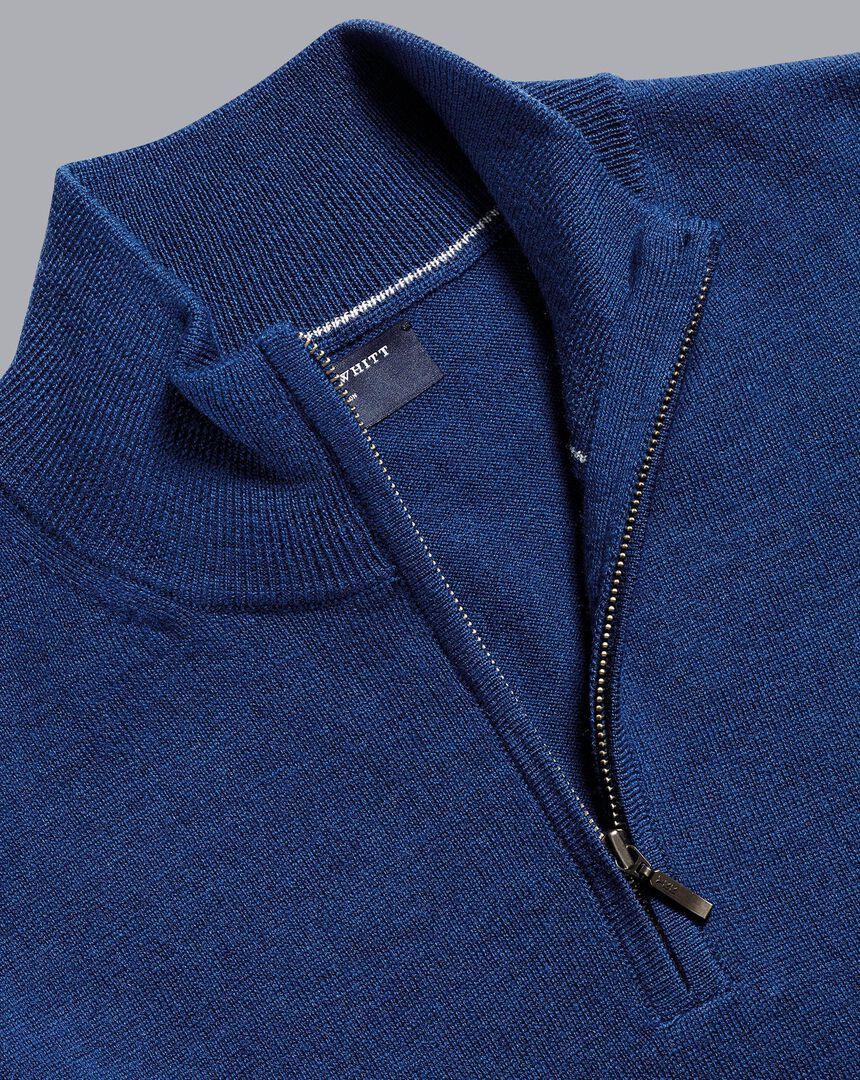 Merino Zip Neck Sweater - Royal Blue