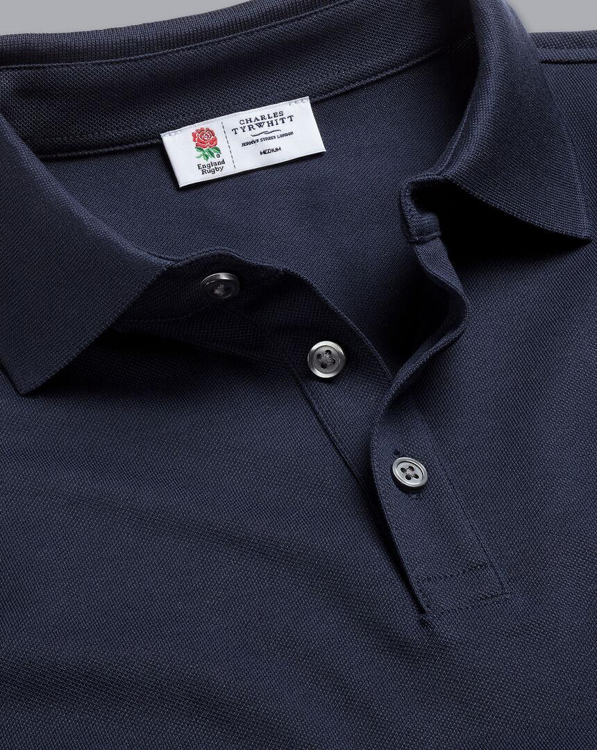 England Rugby Long Sleeve Pique Polo - Navy