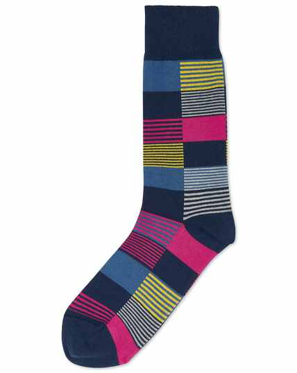 Pink and yellow multi square socks