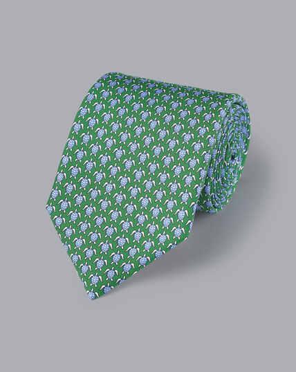 Krawatte mit Schildkröten-Motiv - Grün & Himmelblau