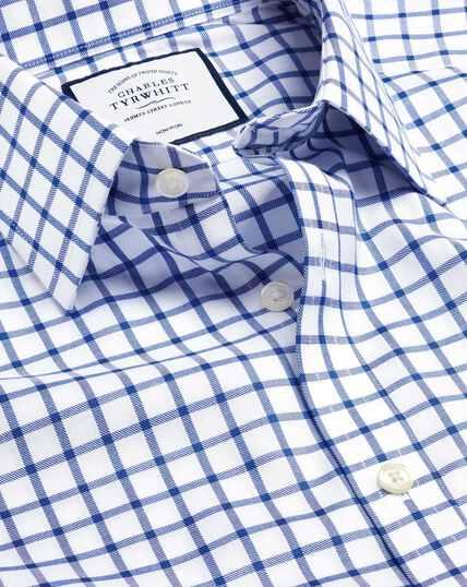 Bügelfreies Twill-Hemd mit Gitterkaros - Königsblau