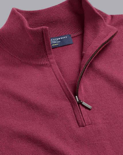 Merino Zip Neck Jumper - Dark Pink