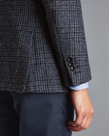 Britisches Sakko aus Wolle mit Prince-of-Wales-Karos - Marineblau