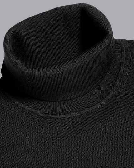 Merino Roll Neck Jumper - Black