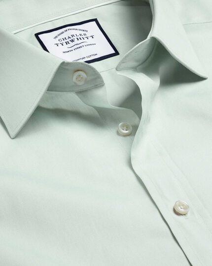Semi-Spread Collar Egyptian Cotton Poplin Shirt - Green