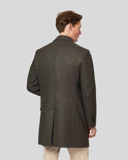 Epsom-Mantel aus britischem Wolle-Baumwolle-Mix mit Hahnentritt - Grün