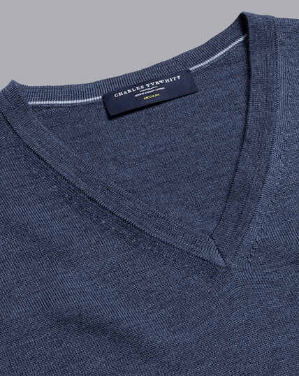 Merino V-Neck Sweater - Indigo Melange