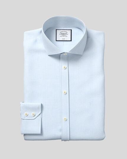Cutaway Collar Non-Iron 4-Way Stretch Hairline Stripe Shirt - Sky
