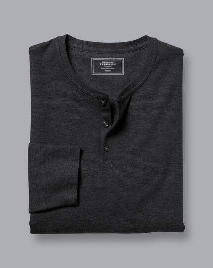 Henley Long Sleeve Pyjama Top - Dark Grey