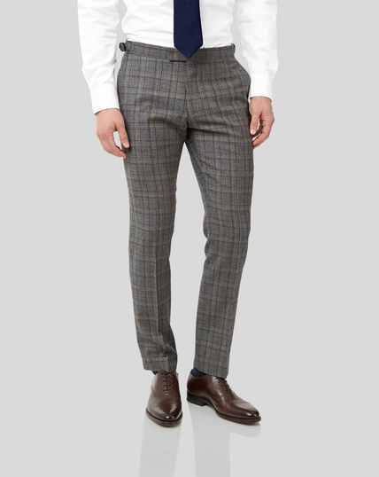 British Luxury Check Suit Pants - Grey & Tan