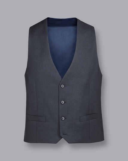 Business Suit Textured Vest - Steel Grey