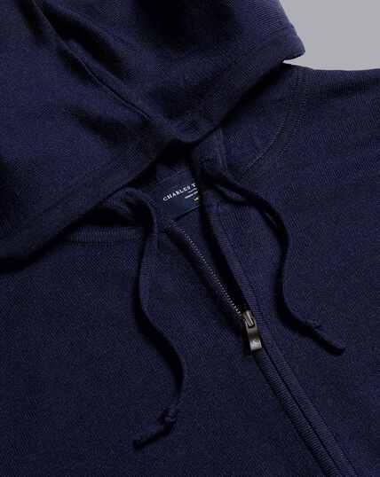 Merino Hooded Zip Through Sweater - Navy