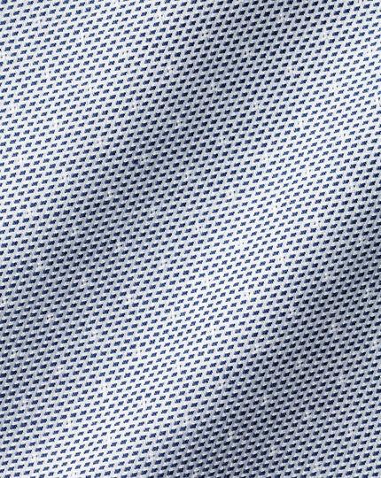 Semi-Cutaway Collar Non-Iron Stretch Texture Spot Shirt - Blue