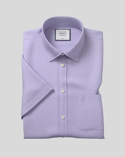 Classic Collar Non-Iron Tyrwhitt Cool Poplin Short Sleeve Shirt - Lilac