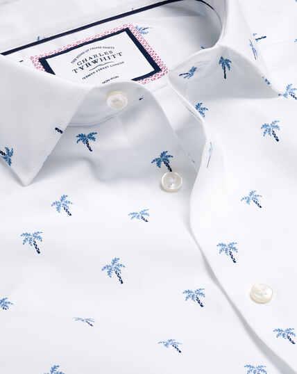 Semi-Cutaway Collar Palm Tree Printed Shirt - Blue