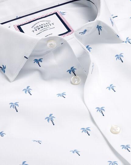 Hemd mit Semi-Haifischkragen und Palmenmotiv -Blau