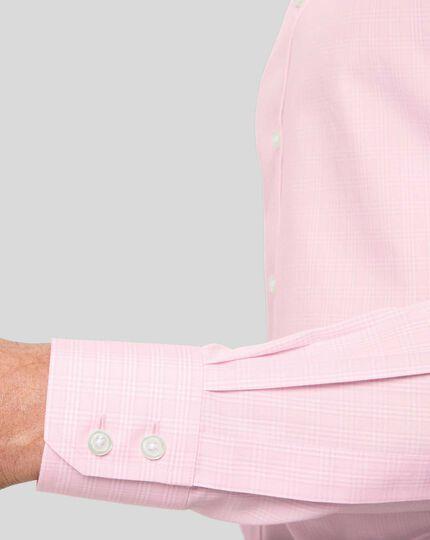 Bügelfreies Hemd mit Haifischkragen und Prince-of-Wales-Karos - Rosa