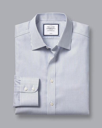 Non-Iron Twill Stripe Shirt - Royal Blue & White