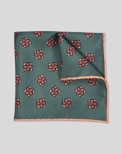 Floral Geometric Print Pocket Square - Green
