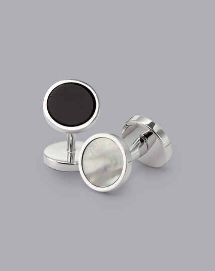 Gala-Manschettenknöpfe aus Onyx und Perlmutt - Silber