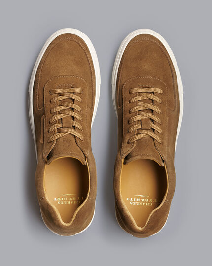 Suede Trainers - Tobacco Brown