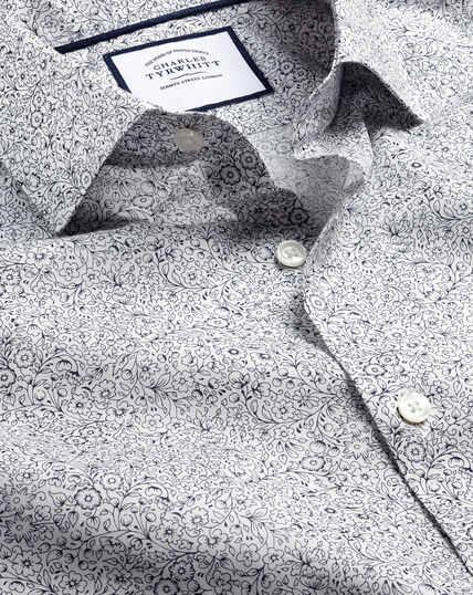 Hemd mit Semi-Haifischkragen Made with Liberty Fabric - Dunkles Violett