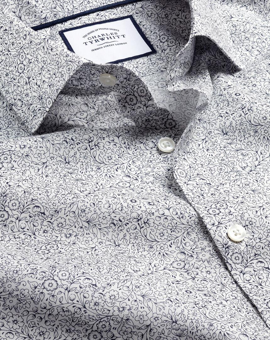 Made with Liberty Fabric Semi-Cutaway Collar Shirt - Dark Purple