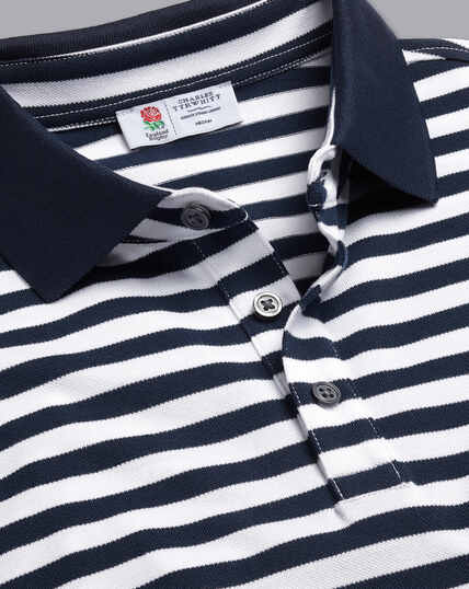 England Rugby Stripe Pique Polo - Navy & White