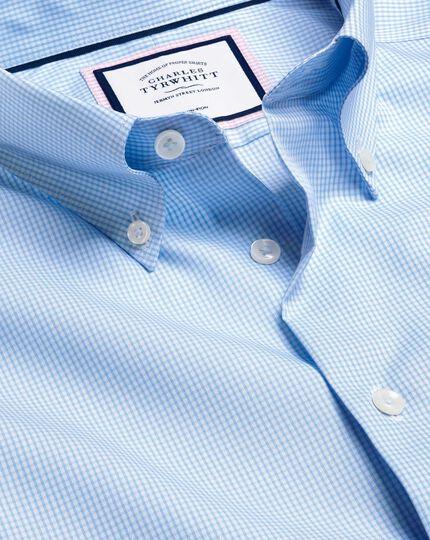 Bügelfreies Hemd mit Button-down-Kragen und Karos- Himmelblau