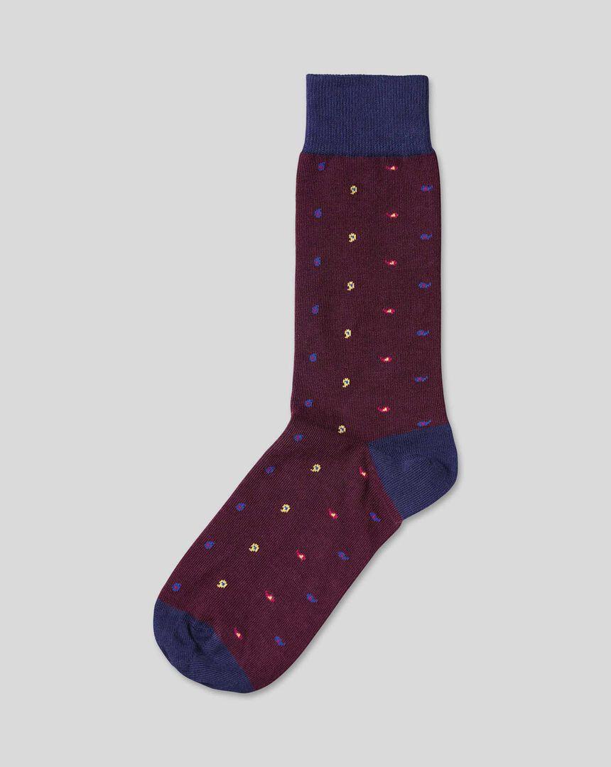 Mini Paisley Patterned Socks - Wine