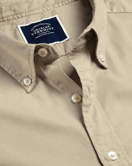Garment Dyed Fine Twill Shirt - Stone