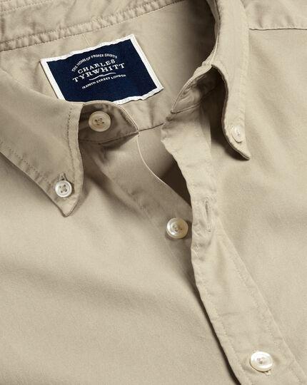 Garment-Dyed Fine Twill Shirt - Stone