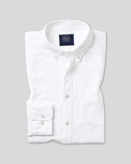 Button-Down Collar Washed Oxford Shirt - White