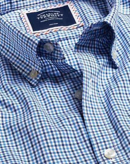 Button-Down Collar Non-Iron Stretch Oxford Gingham Shirt - Blue Multi