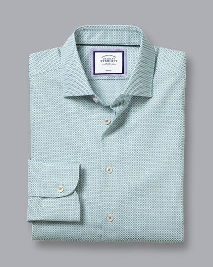 Semi-Cutaway Collar Non-Iron Stretch Texture Shirt - Green & Navy