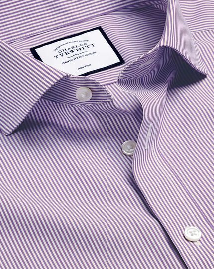 Spread Collar Non-Iron Bengal Stripe Shirt - Purple