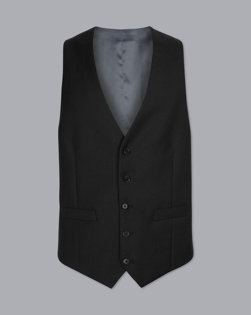 Twill Business Suit Vest - Black