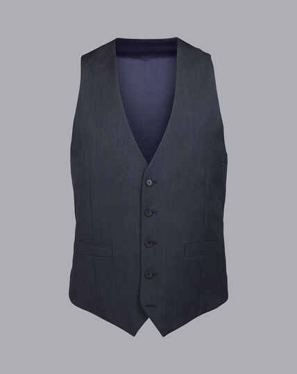 Herringbone Business Suit Vest - Dark Airforce Blue