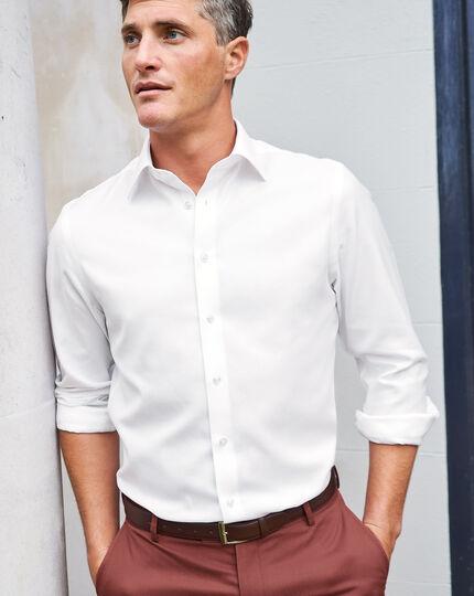 Hemd aus Baumwoll und Leinen mit Business-Casual-Kragen - Weiß