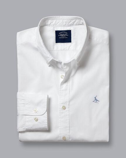 Garment Dyed Fine Twill Shirt - White